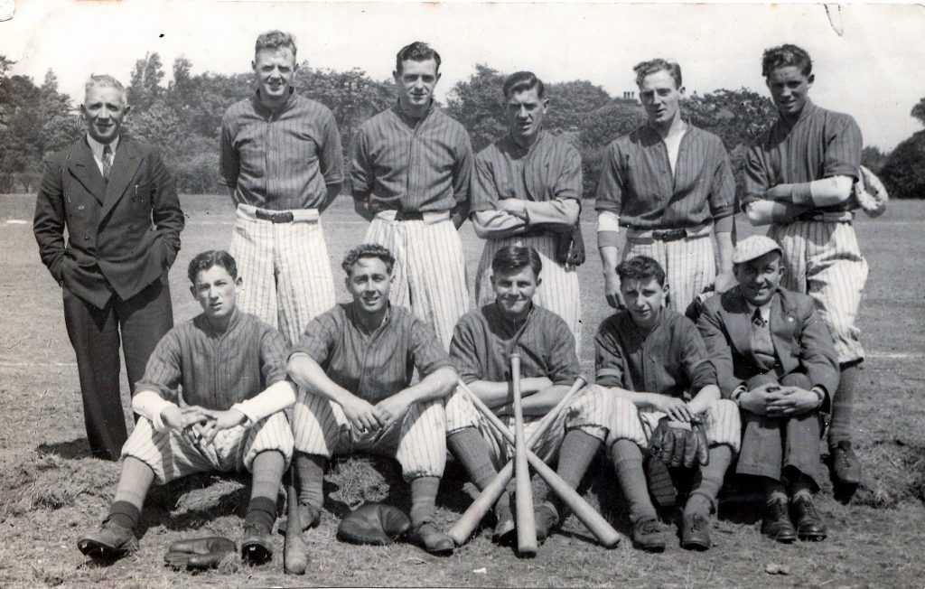 Everton baseball team circa 1945 Featuring Gordon Watson of EFC and Theo Kelly as trainer wearing hat