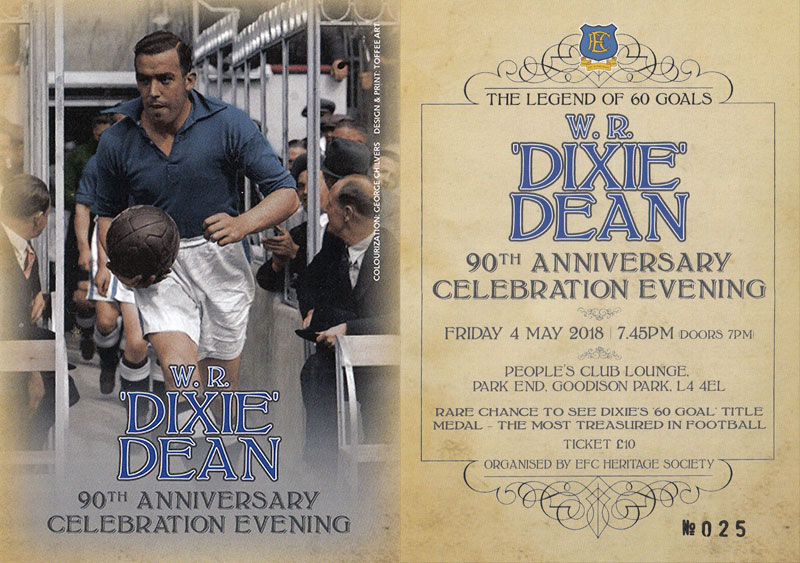 """60 at 90"" – A Night to Remember William Ralph ""Dixie"" Dean"